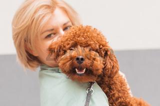 Pet parent concept. Portrait of woman with cute dog