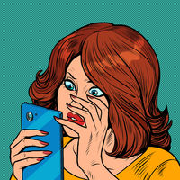 Shocked woman and smartphone. Surprise human emotion. A girl reads a message in a smartphone