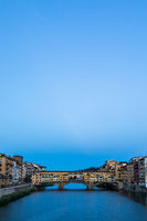 Sunset on Ponte Vecchio - Old Bridge - in Florence, Italy. Amazing blue light before the evening.