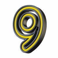 Yellow black outlined font Number 9 NINE 3D