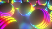 Striped spheres in space abstract background.
