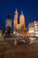 St. Mary Church and Adam Mickiewicz Monument in Krakow