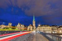 Zurich Switzerland, night city skyline at Fraumunster Church and Munster Bridge