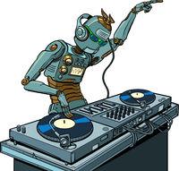 robot dj on vinyl turntables. concert music performance