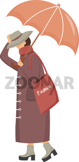 Woman in brown raincoat flat color vector faceless character. Walking caucasian lady. Rainy day. Fashionable madam on heels. Female with umbrella isolated cartoon illustration on white background