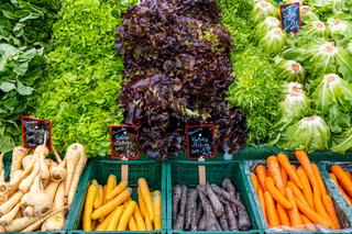 Salat, Pastinaken und Karotten zum Verkauf
