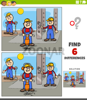 differences educational game with cartoon builders