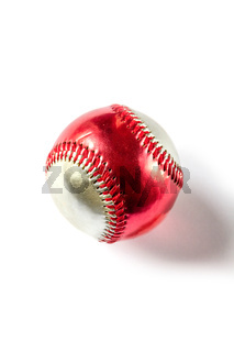 Red and silver Baseball ball isolated on white