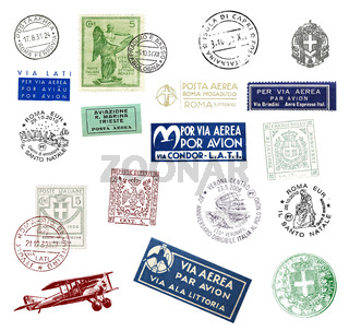 Postage stamps and labels from Italy
