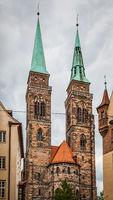 Bell towers of St. Sebaldus Church in Nuremberg