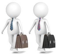 3D little human character the Business Man walking with Leather Briefcase. 2 Color versions.
