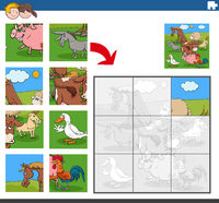 jigsaw puzzle game with funny farm animal characters