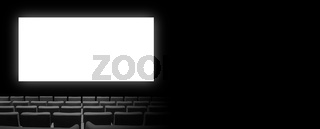 Cinema movie theatre with seats and a blank white screen. Horizontal banner