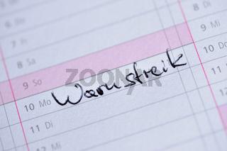 Kalendereintrag 'Warnstreik'