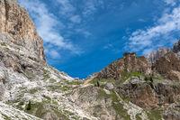 Rifugio Preuss under the Vajolet towers, Catinaccio group, Trentino, Italy