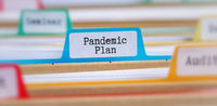 File folders with a tab labeled Pandemic Plan
