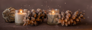 Candles pine cones and christmas decoratoin border
