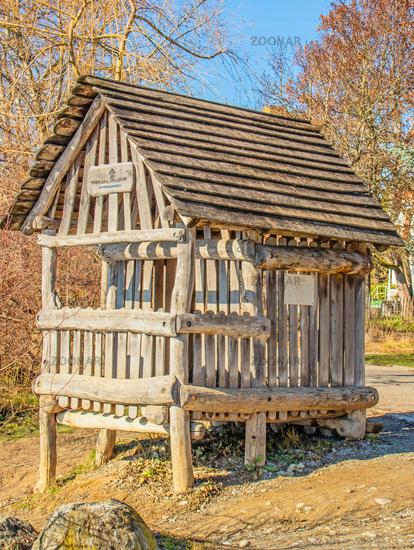 Replica of a pile-dwelling hut, Überlingen on Lake Constance