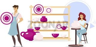 Man and woman in pottery studio flat color vector illustration. Male and female characters next to shelf with dishes. Clayware, ceramics production. Isolated cartoon character on white background
