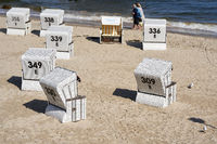 Beach chairs on the beach of Heringsdorf on the German coast of the Baltic Sea