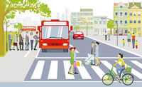 Road traffic with bus stop, pedestrians on zebra crossing and cyclists illustration