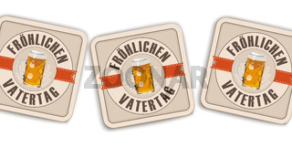 White Background Beer Coasters Froehlichen Vatertag