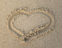 Heart shape on the sand