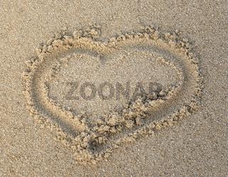 Heart shape on the sand
