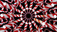 Flying sticks lollipops abstract background.