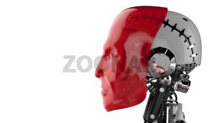 Cyborg Kopf Rot - Seitenansicht