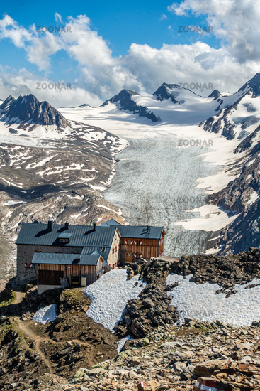 The spectacularly situated Ramolhaus with the Gurgler Ferner in the background, Ötztal, Tyrol, Austria