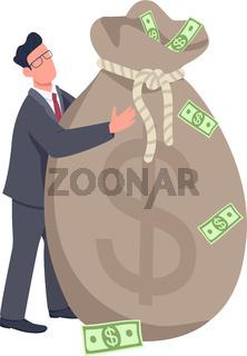 Businessman holding big money bag flat concept vector illustration