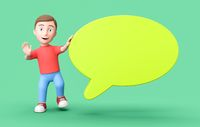 Young Kid 3D Cartoon Character with Blank Speech Bubble on Green with Copy Space