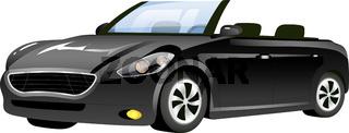 Black cabriolet cartoon vector illustration. Stylish new car flat color object. Elegant personal vehicle isolated on white background. Stylish transport, elegant automobile without roof