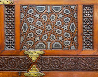 Decorative tongue and groove assembled, inlaid with ivory and ebony, Minbar of Imam Al Shafii Mosque