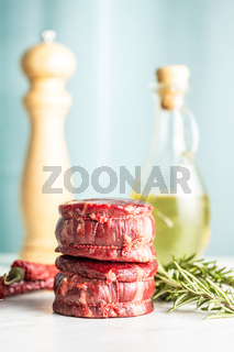 The raw beef meat steak.