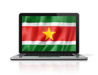 Suriname flag on laptop screen isolated on white. 3D illustration