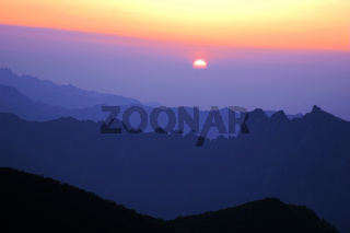 Landscape of sunrise on the top of mountains