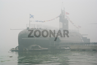 Submarine in the smoke