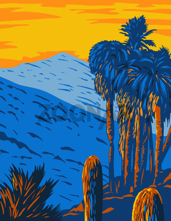 The Santa Rosa and San Jacinto Mountains National Monument California with the Santa Rosa and San Jacinto Mountain Ranges WPA Poster Art