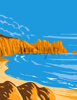 Logan Rock on Treen Cliff in Cornwall England Uk Art Deco Wpa Poster Art