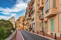 Monte Carlo Monaco, city skyline of colorful house in Monaco