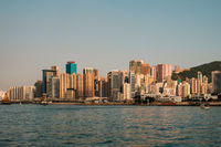 Skyline and coast of Hong Kong Island, business