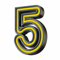 Yellow black outlined font Number 5 FIVE 3D