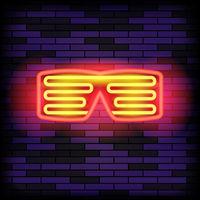 Heon Glasses on Blue Brick Background. Stylish Gadget for Night Club