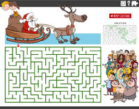 maze with cartoon Santa Claus on sleigh and people crowd