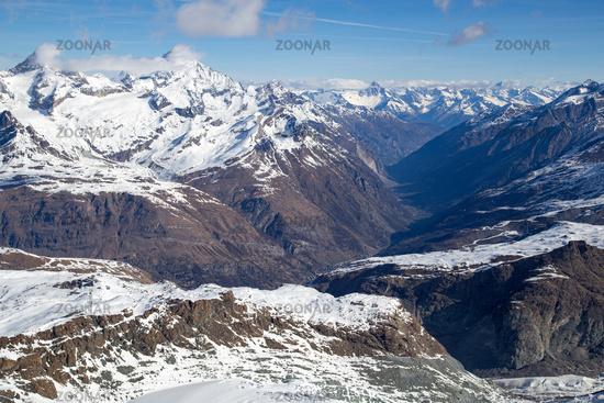 View from Klein Matterhorn in the Swiss Alps