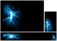 Set of Abstract Backgrounds with Glowing Triangles