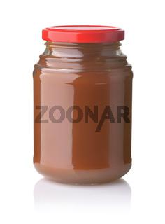 Glass jar of apple butter