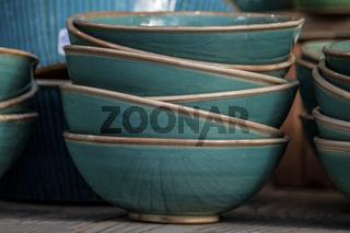 Turquoise bowls  arranged